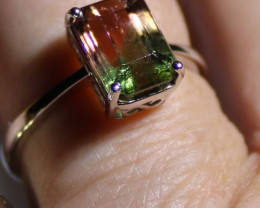 Watermelon Tourmaline 3.70ct Solid 18K White Gold Solitaire Ring