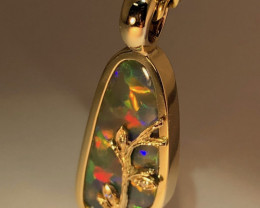 Australian Hand Made Natural and Solid Black Opal Gold Pendant j002