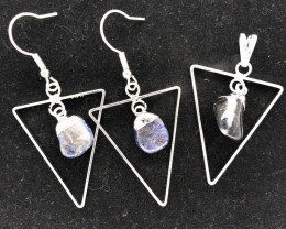 Holystic Triangle Design Tumbled Sodalite Set Earrings & Pendant - BR 1413