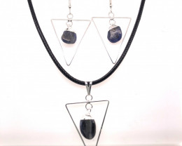Holystic Triangle Design Tumbled Sodalite Set Earrings & Pendant - BR 1414