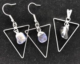 Holystic Triangle Design Tumbled Sodalite Set Earrings & Pendant - BR 1415