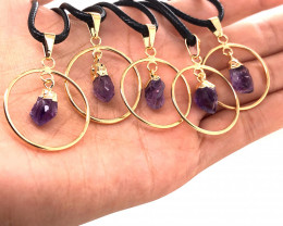 5 x Amethyst Golden Lovers Pendants - BR 1431