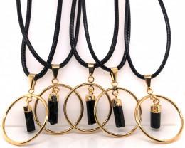 5 x Black tourmaline Golden Lovers Pendants - BR 1434