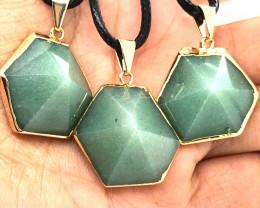 3 X Geometric Aventurine Lovers Pendants - BR 1440