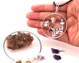 Raw Gemstone Jewelry Set - 3 Pieces - BR 1449
