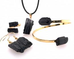 Spiritual black Tourmaline 4 PC Jewelry Set - BR 1456