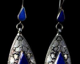 88.85 CT Natural Blue Lapis Lazuli earrings Special Shape