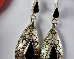 86.60 CT Natural Black Agate Earrings Special Shape