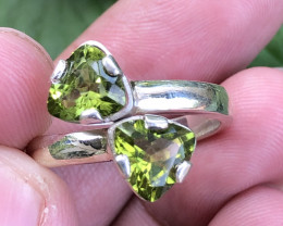Natural Peridot Hand Made Twin Pcs 925 Silver Ring