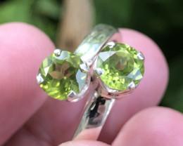Natural Peridot Twin Pcs Hand Made 925 Silver Ring