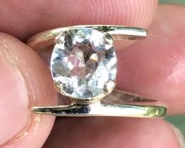 Natural Aquamarine Hand Made 925 Silver Ring