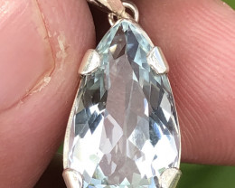 Natural Aquamarine Hand Made 925 Silver Pendant