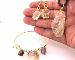 Raw Gemstone Jewelry Set - 3 Pieces - BR 1465