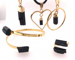 Spiritual black Tourmaline 5 PC Jewelry Set - BR 1468