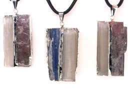 3 x Blue Kyanite, Mica and Selenite Pendant - BR 1470