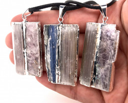 3 x Blue Kyanite, Mica and Selenite Pendant - BR 1471