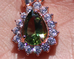 Green Tourmaline 1.30ct Rose Gold Finish Solid 925 Sterling Silver Pendant