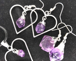 3 Pieces Raw Beautiful Amethyst Lovers Set - BR 1499