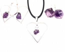 3 Pieces Raw Beautiful Amethyst Lovers Set - BR 1500