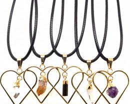 5 x Heart Designs Raw Crystal, Amethyst, Citrine, Tourm Pendants - BR 1508