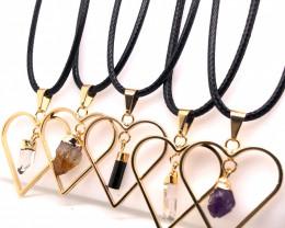 5 x Heart Designs Raw Crystal, Amethyst, Citrine, Tourm Pendants - BR 1509