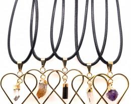 5 x Heart Designs Raw Crystal, Amethyst, Citrine, Tourm Pendants - BR 1510
