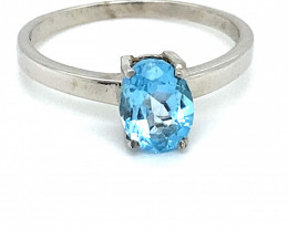 Blue Topaz 1.82ct Rhodium Finish Solid 925 Sterling Silver Solitaire Ring