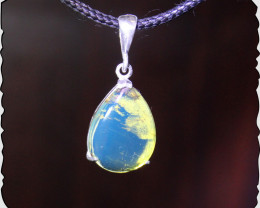 Dominican Natural Crystal Clear Sky Blue Amber .925 Sterling Silver Pendant