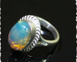 Impressive Premium AAA++ Natural Crystal Clear Sky Blue Amber .925 Sterling