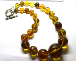 Exquisite Natural Clear Orange Green Amber Round Bead Sphere Necklace, bigg