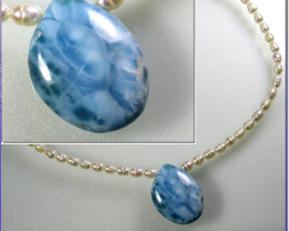 Exquisite Natural Sky Blue Larimar Pearl .925 Sterling Silver Necklace 17in