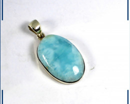 Beautiful Natural Sky Blue Larimar .925 Sterling Silver Pendant 1.4inch