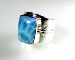 Outstanding Natural Sky Blue AAA++ Larimar .925 Sterling Silver Templer Rin