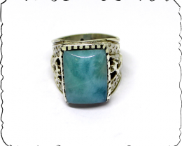 Exquisite Natural Sky Blue Larimar .925 Sterling Silver Celtic Dragon Ring
