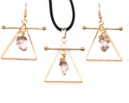Raw Crystal Triangle Earth symbol - 3 pc set - BR 1522