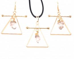 Raw Crystal Triangle Earth symbol - 3 pc set - BR 1523
