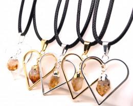 5 x Heart Designs Raw Citrine Pendants - BR 1530