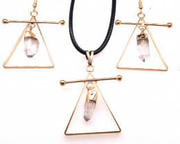 Raw Crystal Triangle Earth symbol - 3 pc set - BR 1532