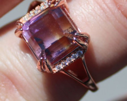 Ametrine 5.00ct Rose Gold Finish Solid 925 Sterling Silver Solitaire Ring