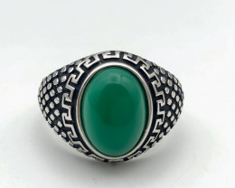 43.90 Crt Natural Green Agate 925 Silver Ring