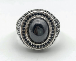 54.23 Crt Natural Black Agate 925 Silver Ring