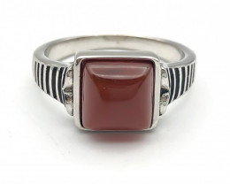 30.52 Crt Natural Red Agate 925 Silver Ring