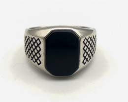 30.03 Crt Natural Black Agate 925 Silver Ring