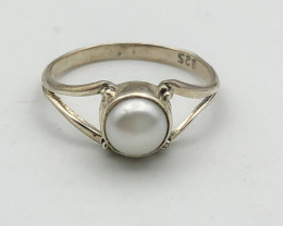 6.88 Crt Natural Fresh Water Pearl 925 Silver Ring