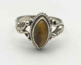11.61 Crt Natural Tiger Eye 925 Silver Ring