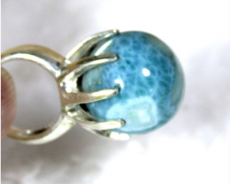 Exquisite Natural Sky Blue AAA++ Larimar .925 Sterling Silver Ring #7