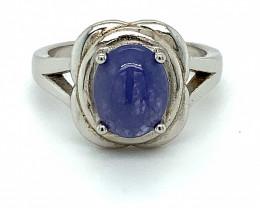 Tanzanite 4.69ct Rhodium Finish Solid 925 Sterling Silver Solitaire Ring