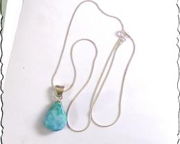Impressive Natural Sky Blue Larimar .925 Sterling Silver Necklace  snake ch