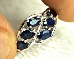 15.90 Total Carat Weight Sterling Silver, Sapphire Ring - Size 8.0 US