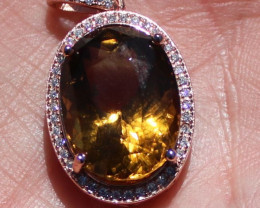 Congo Citrine 12.31ct Rose Gold Finish Solid 925 Sterling Silver Pendant